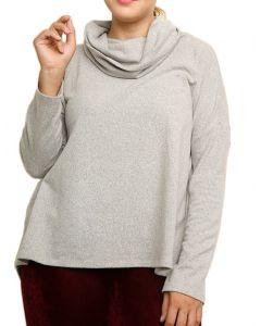 Umgee Women's Long Sleeve Turtleneck Knit Top Plus Heather Grey