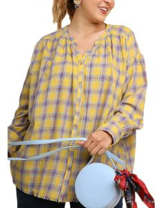 Umgee Women's Plaid Button Top Yellow Mix