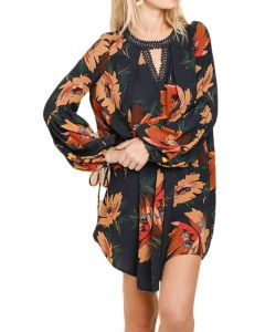 Umgee Women's Floral Print Puff Sleeve Dress Navy Mix