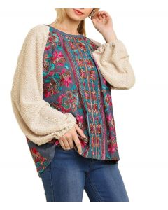 Umgee Women's Embroidery Tunic Natural