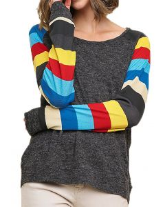 Umgee Women's Colorblock Knit Top Ash