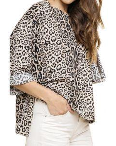 Umgee Women's Jaguar Print Plus Top Stone Mix