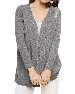 Umgee Women's Distressed Knit Plus Cardigan Grey