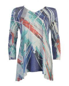 Jess & Jane Women's Sweater Knit Sharkbite Tunic Kairos Multi