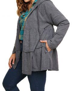 Umgee Women's Long Sleeve Hood Ruffle Jacket Ash