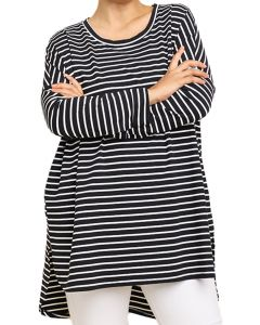 Umgee Women's Long Sleeve Striped Tunic Plus Black White