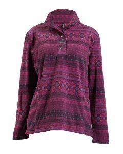 North River Women's LS Micro Fleece Shawl Neck Purple Potion