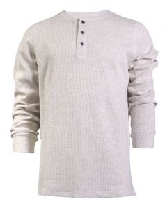 North River Men's Long Sleeve 3 Button Henley Natural