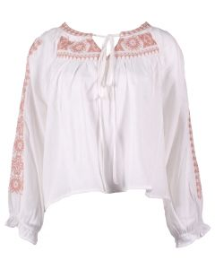 Andree By Unit Women's Embroidered Short Top Off White