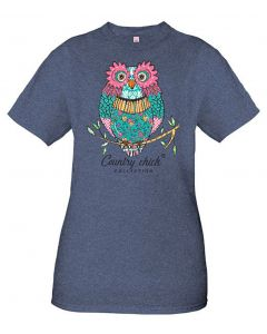 Simply Southern Women's Short Sleeve Country Chick Owl Tee Denim