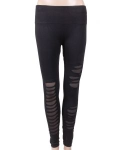 One 5 One Women's Distressed Leggins Black