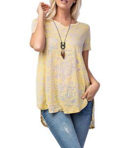 Rae Mode Women's Burnout Acid Wash T-Shirt Lemon