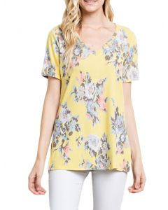 Mittoshop Women's Floral V-Neck T-Shirt Yellow