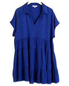 Umgee USA Babydoll Linen Dress Cobalt