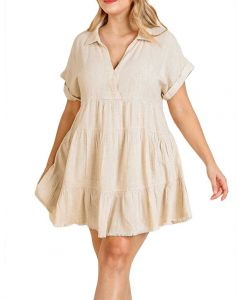 Umgee USA Babydoll Linen Dress Oatmeal