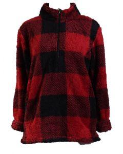 Stillwater Supply Co Women's 1/4 Zip Pullover Red Black