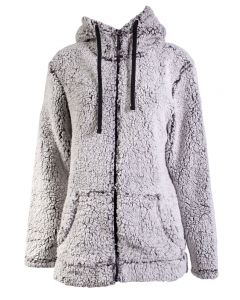 Stillwater Supply Co Women's Full Zip Hooded Sherpa Fleece Black