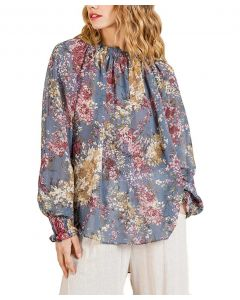 Umgee USA Women's Floral Tunic Steel Blue
