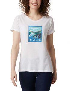 Columbia Sportswear Women's Hidden Lake T-Shirt White Trailscape