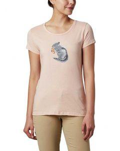 Columbia Sportswear Women's Hidden Lake T-Shirt Peach Cloud Heather