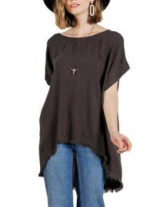 Umgee USA Women's High Low T-Shirt Ash