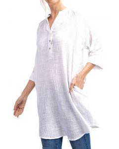 Rae Mode Women's 3/4 Sleeve Tunic Off White