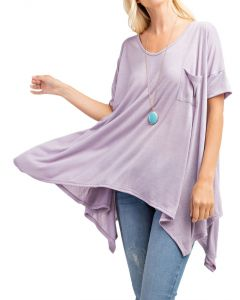 Rae Mode Women's Short Sleeve Trapeze Tunic Dusty Lavender