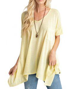 Rae Mode Women's Short Sleeve Trapeze Tunic Yellow