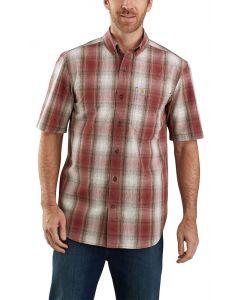 Carhartt Men's Short Sleeve Buttondown Plaid Dark Barn Red