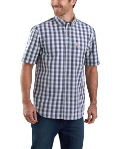 Carhartt Men's Short Sleeve Buttondown Plaid Navy