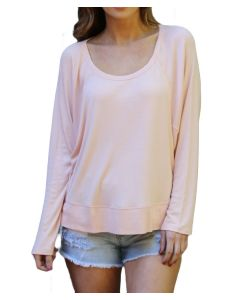 Angie Women's Slouchy Knit Top Blush