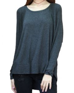 Angie Women's Slouchy Knit Top Charcoal