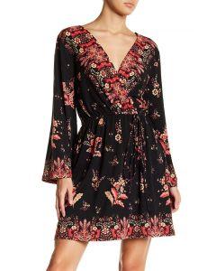 Angie Women's Print Kimono Robe Mini Dress Black