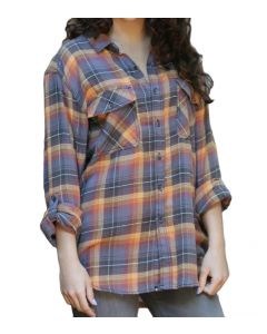 Angie Women's Plaid Button-Up Top Grey Peach