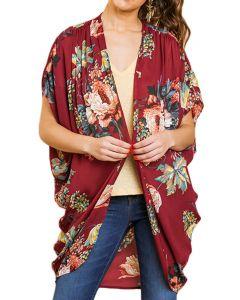 Umgee Women's Floral Kimono Wine Mix