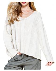 Mittoshop Women's V-neck Cable Sweater Cream
