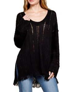 Mittoshop Women's V-neck Sweater Black