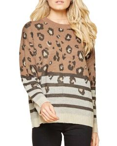 Andree By Unit Leopard Mix Sweater Mocha