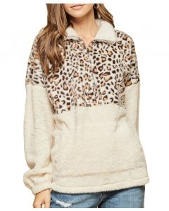 Andree By Unit Women's Leopard Cont Sweater Ivory
