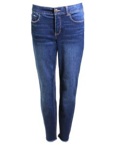 One 5 One Women's Fray Skinny Jean Dark Stone Wash