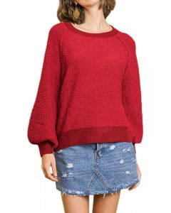 Umgee Women's Puff Sleeve Sweater Cherry