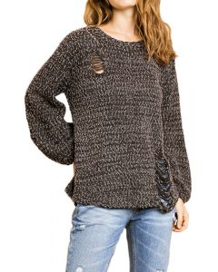 Umgee Women's Distressed Sweater Ash Brown