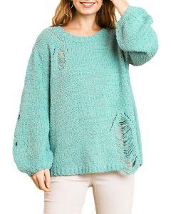 Umgee Women's Distressed Sweater Dusty Mint