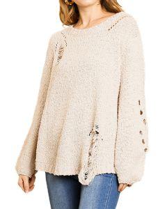Umgee Women's Distressed Sweater Stone
