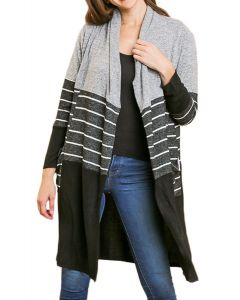 Umgee Women's Colorblock Cardy Grey Mix