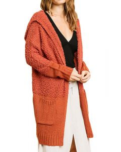 Umgee Women's Hooded Cardigan Sunset