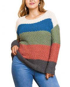 Umgee Women's Striped Sweater Olive Teal