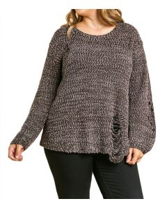 Umgee Women's Distressed Sweater Plus Ash Brown