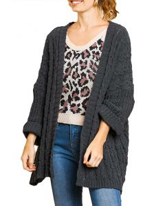 Umgee Women's Cable Cardigan Charcoal