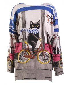 Simply Couture Women's Graphic Sweater Cat